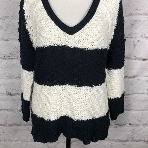 Free People Sweaters - NWOT Free People Stripe V-Neck Oversize Sweater XS